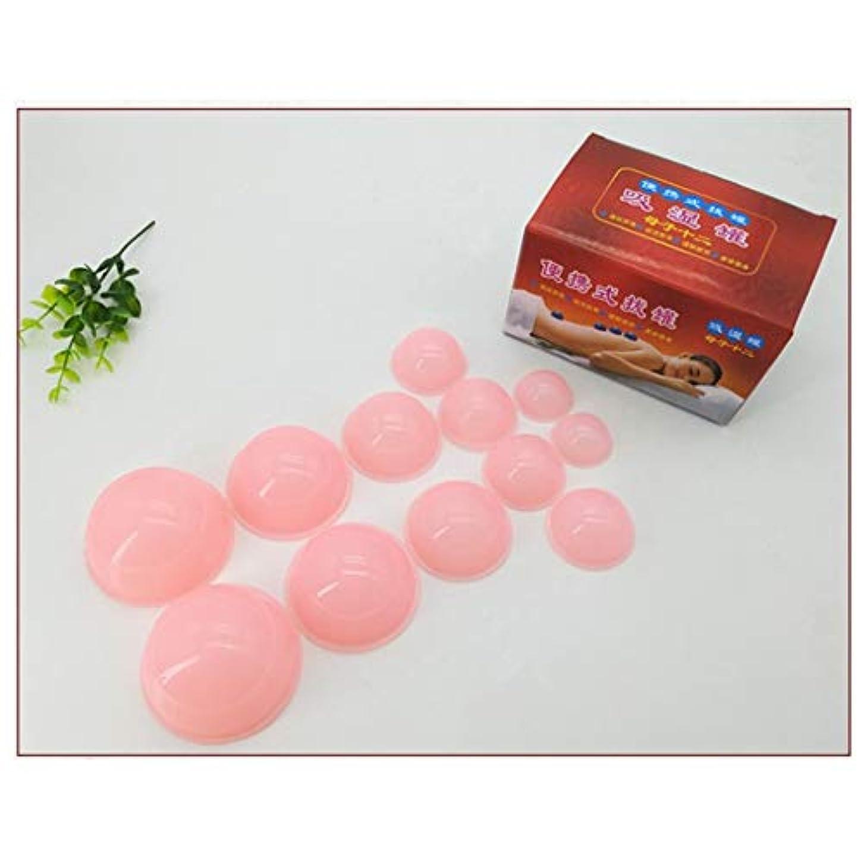 一掃する交換電気的アンチセルライトカップ - 真空マッサージキット - シリコーン療法カッピングセット用ボディフェイスホームスパヘルスケア12ピース,Pink
