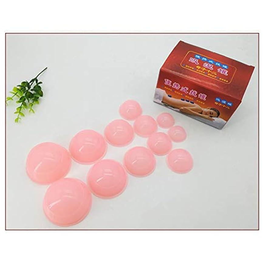 秋危険にさらされている精算アンチセルライトカップ - 真空マッサージキット - シリコーン療法カッピングセット用ボディフェイスホームスパヘルスケア12ピース,Pink