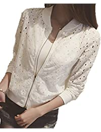 [セカンドルーツ] フラワーレースブルゾン 薄手 ジップアップ さらっと 涼しい 大人 かわいい 夏物 ジャケット