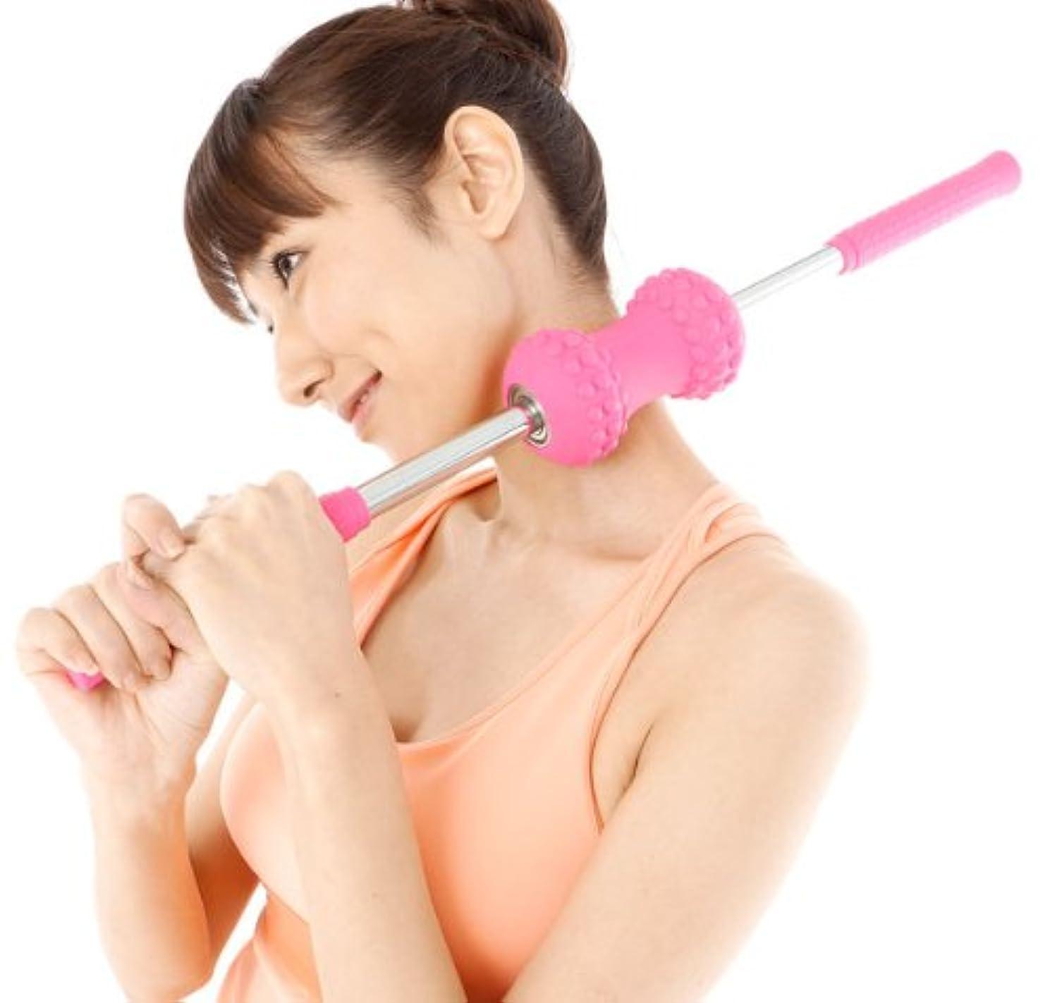 【コロコロストレッチ(ピンク)】 収納バッグ付き! ころころストレッチ コロコロ ストレッチ ころころして柔軟な体作りを!