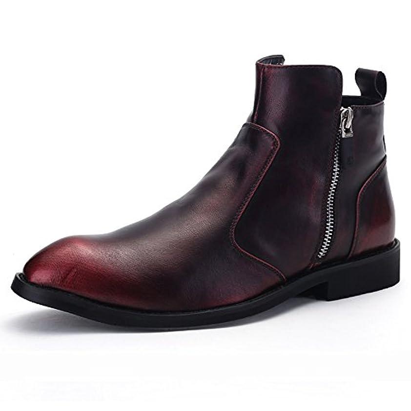 崇拝します腐食する貧しいXSD(シンセイダイ)メンズ レインブーツ スノーブーツ ビジネスレインブーツ 雨靴 防水 レッド 24.5cm