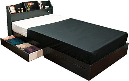 照明 コンセント 棚 引出付 シングルベッド 100幅 圧縮ロールボンネルコイルマットレス付 ブラック