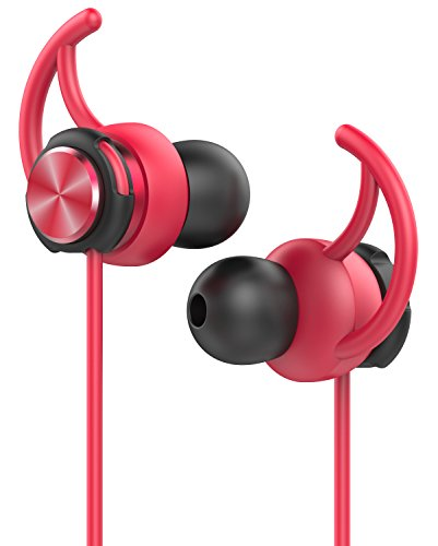 AIFED スポーツイヤホン 高音質カナル型 マイク付き、通勤、通学、運動中に最適 (2-red)