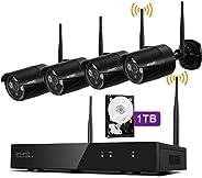 [Audio Compatible & H.265] xmartO 8CH 1080p HD Wireless Surveillance Camera System 1TB with 4pcs 1080p HD