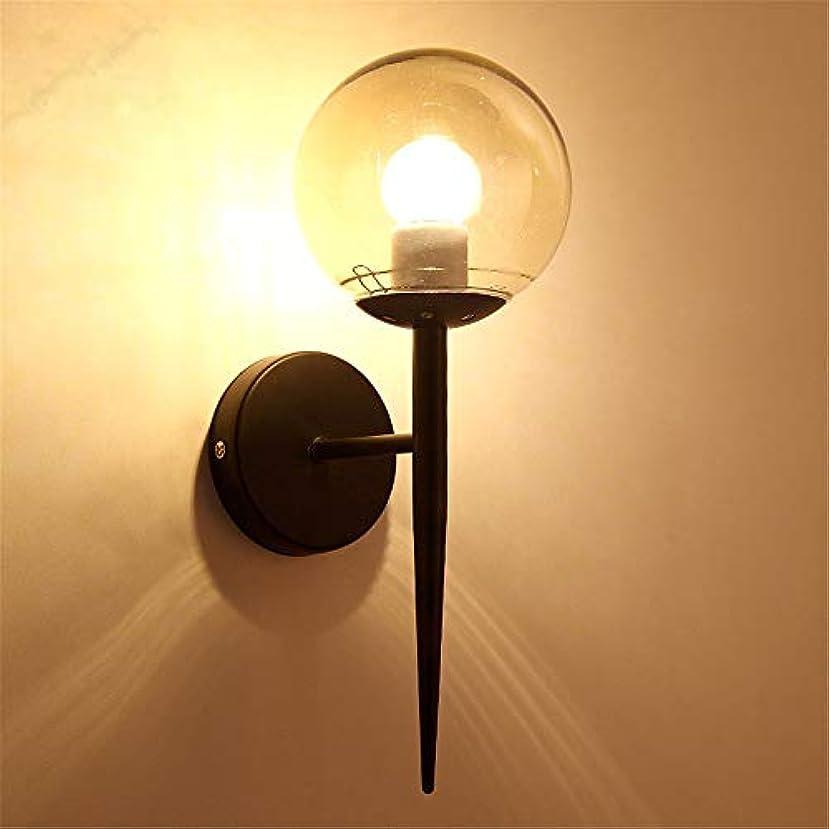 有効な杭カメガラスラウンドウォールランプベッドサイドベッドルームランプシンプルモダン北欧クリエイティブテレビの背景ウォールランプシングルヘッドゴールドブラック廊下ライト 照明器具 (色 : ブラック, サイズ : 13*34cm)