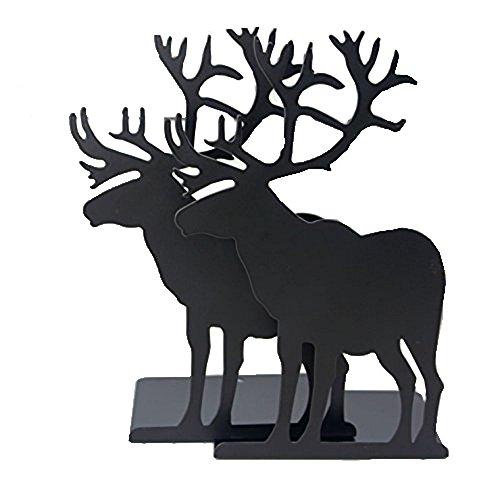 ヘラジカ 鹿 金属製 ブックエンド 本立て ブックスタンド ブックストッパー ブックオーガナイー 学校 部屋 卓上収納 机と本棚の飾り物 置物 インテリア ブラック