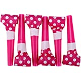 LLflow Great 6pcs Whistles Kids Children Birthday Party Blowing Dragon Blowout UK(None Polka dot red)