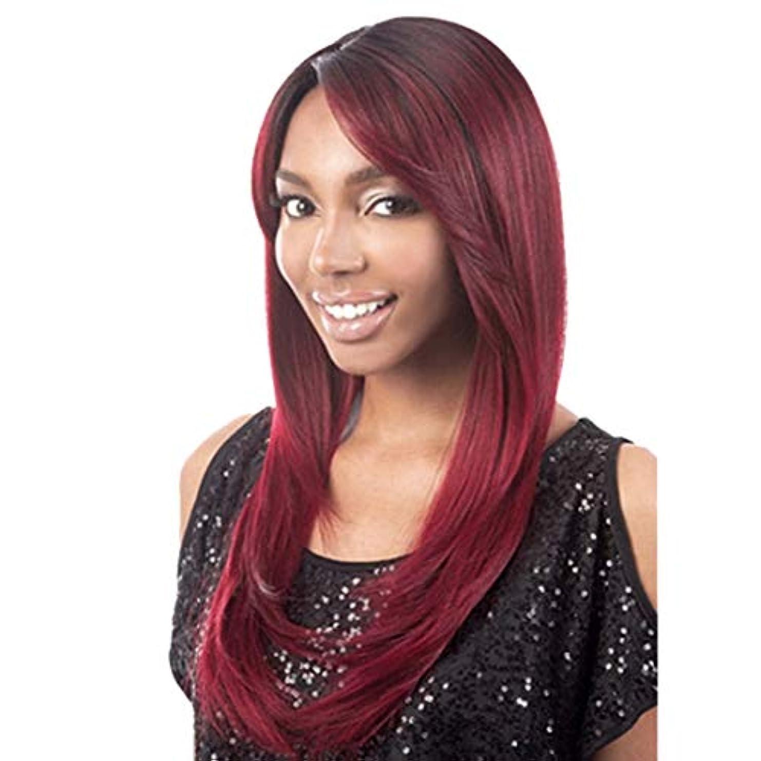 パリティ蒸発月曜Summerys 女性の半分手のための赤い側部分長い自然なストレート耐熱合成毛の交換かつら