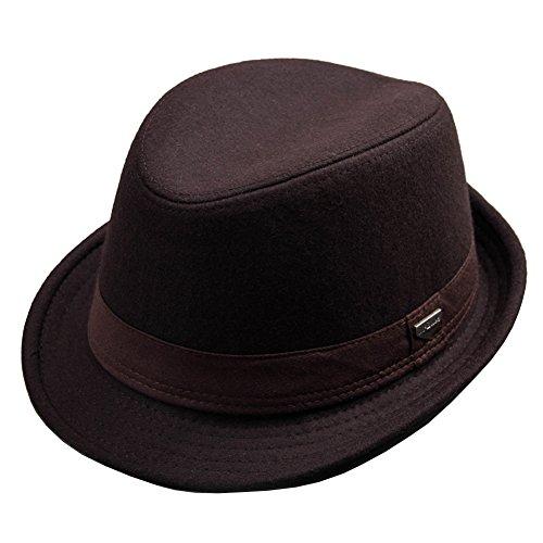 紳士ウールハット 大きいサイズ 帽子 メンズ おしゃれ 大人 かっこいいなストライプハット人気 秋冬帽子(フリーサイズ:58-60cm) (コーヒー色)