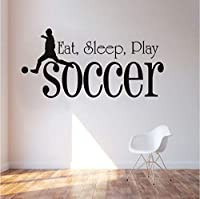 Lcymt 子供の部屋のスポーツのサッカーの壁のステッカーを食べる睡眠を食べるブラックPvc防水壁紙デカールボーイズベッドルームホームデコレーション