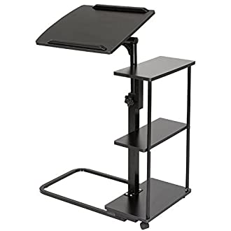 DOEWORKS Laptop Desk Height Adjustable Tray Side Table for Bed or Sofa Black Overbed Table with Wheels [並行輸入品]