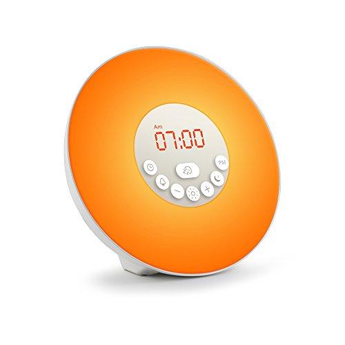 MAOZUA目覚まし時計 デジタルラジオ ベッドサイドランプ 6つ自然なラーム+7色ライト付きアラーム クロック スヌーズ 定時光で起きる 日の出・日の入り模擬 タッチスクリーンコントロール USB充電