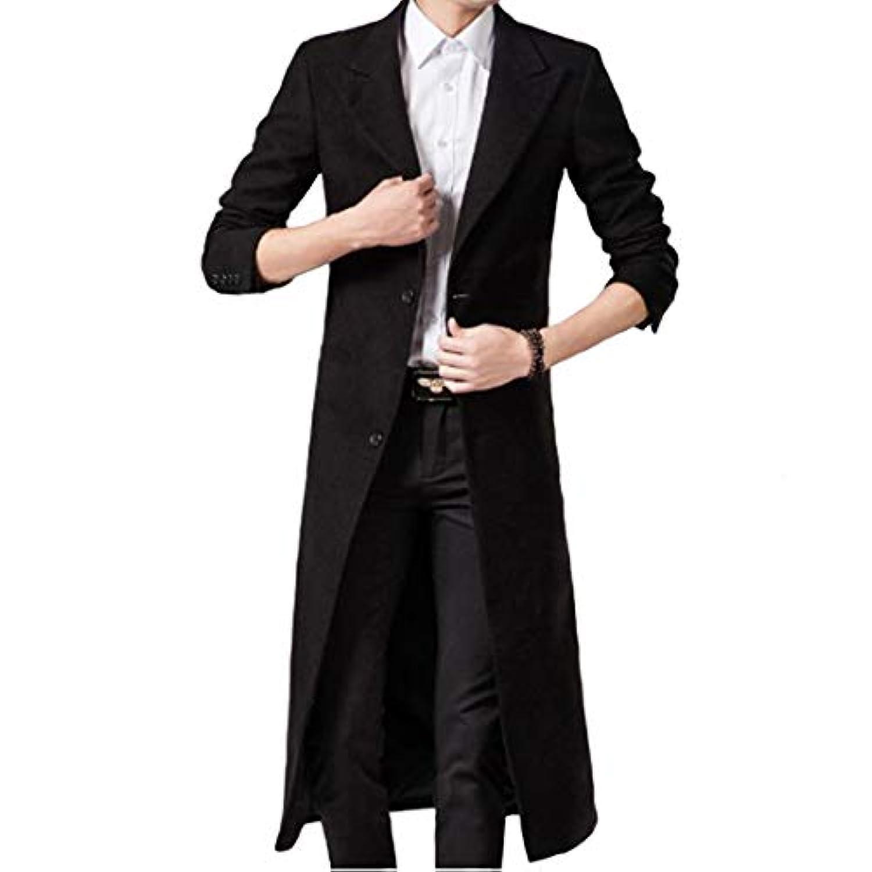 JHIJSC コート メンズ ロング チェスターコート 膝下 ジャケット 秋冬 無地 長袖 ビジネス 大きいサイズ