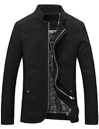Keaac メンズスタンドカラーロングスリーブスリムフィットトレンチコートジャケット