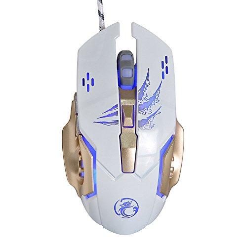AROZE プロフェッショナルゲーミングマウス、4000DPIメタリックマット面4色4D人間工学に基づいて設計された有線USBマウス(白)