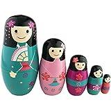 可愛い日本の女の子 マトリョーシカ人形 マトリョーシカ 手業 手塗り 木製品 5個組 誕生日プレゼント 贈り物 子供のおもちゃ 飾り物 置物