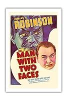 """""""The Man with Two Faces"""" - Edward G. Robinson & Mary Astor - 監督 Archie Mayo - ビンテージなフィルム映画のポスター c.1934 - プレミアム290gsmジークレーアートプリント - 61cm x 91cm"""