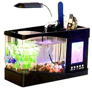 卓上 ミニ 水族館 机の上で魚が飼える癒しアイテム 小物 サウンド 循環ポンプ 内蔵 ブラック SY-400
