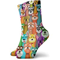 Novelty Cool Crazy Funny Dress Socks - Colorful Oil Cute Schnauzer Dogs Socks - Gifts for Men & Women