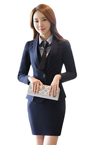 スーツ ワンピーススーツ セットアップ テーラードジャケット 事務服 レディース ビジネス フォーマル 通勤 オフィス OL 就活 入学式 卒業式(agj006/DarkBlue/L)
