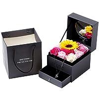 手作り香り付きバスソープローズダブル引き出しギフトボックス、プリザーブドローズギフトボックス、結婚式の誕生日記念日のギフトボックスで,A