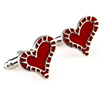 Full Hearts Cufflinks With Giftbox–ビジネス結婚式ギフトPresentアクセサリーfor Men