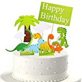 Ewivi 11 Pc Dinosaur cake topper - Dinosaur cake Toppers for Kids Birthday Baby Shower Party Decorations Supplies