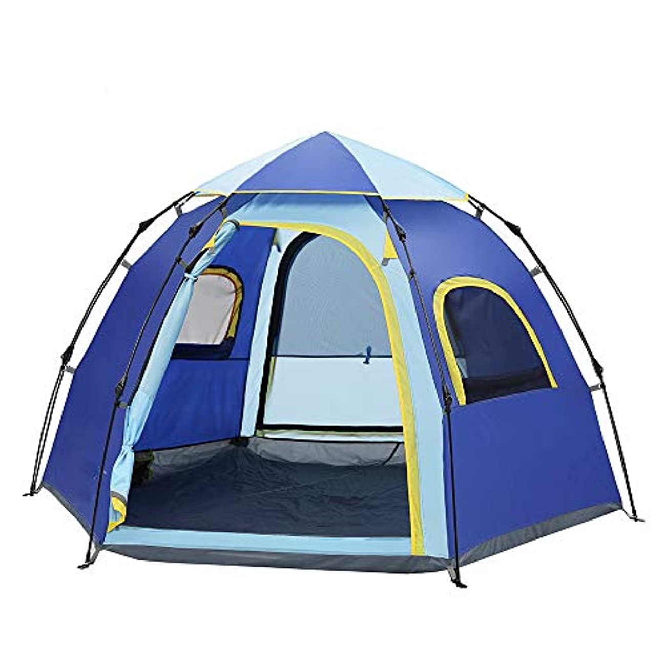 軽減するぺディカブ明示的に屋外自動テント、5-6人六角形のレジャーパオキャンプキャンプレジャー屋外無料スピードを構築するオープンテント(青)