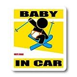 わーるどくらふと BABY IN CAR フリースタイルスキーバージョンB ステッカー (きいろ)