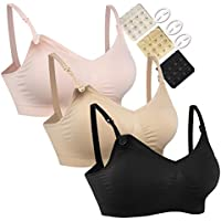 HOFISH 3PACK Full Bust Seamless Nursing Maternity Bras Bralette S-XL with Extra Bra Extenders & Clips