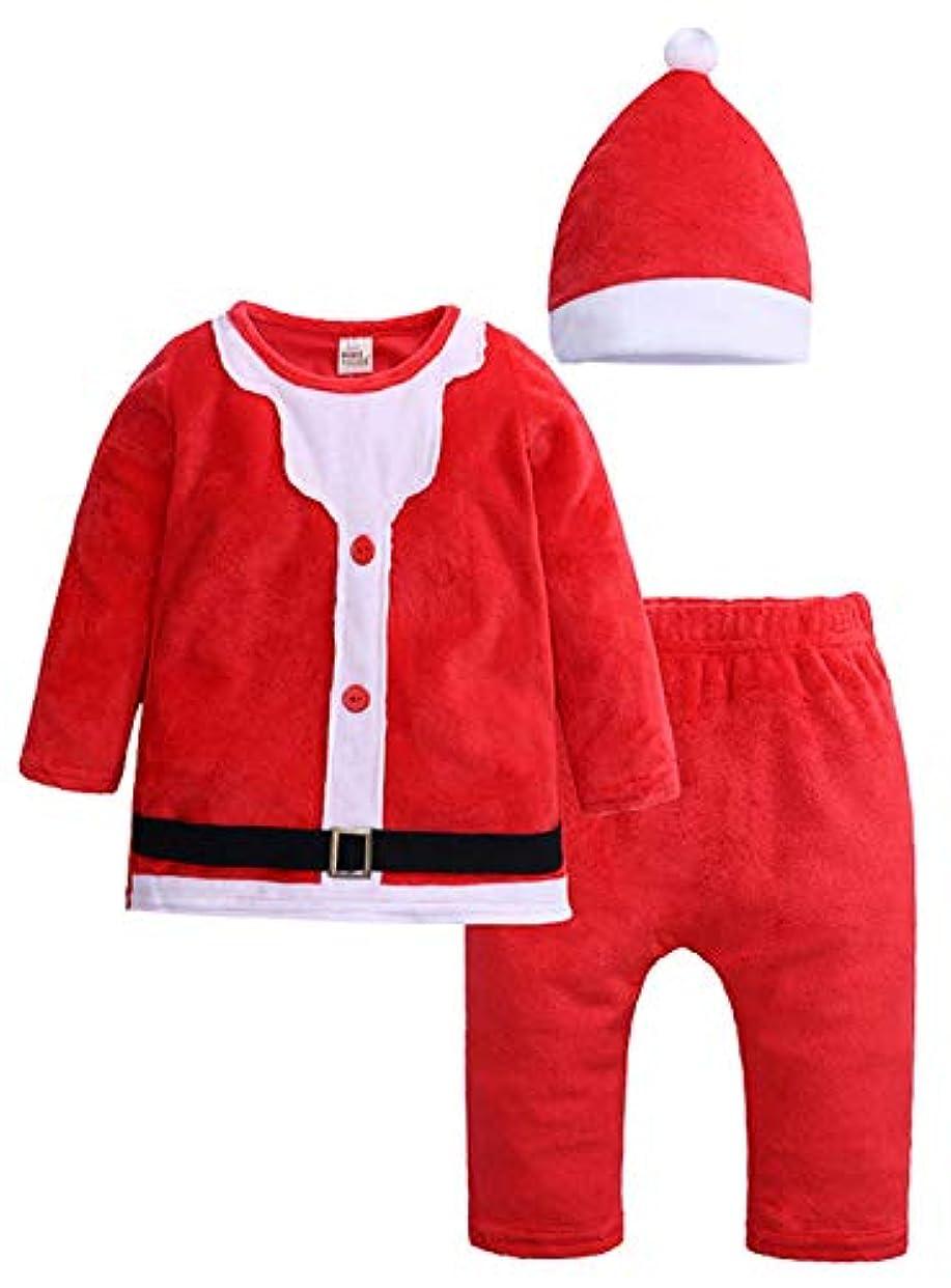 ディスカウント致命的ではごきげんよう(コ-ランド) Co-land 子供仮装 コスチューム サンタクロース クリスマス パーティー イベント 可愛い 帽子 トップス ズボン 3点セット 男の子 女の子 90 レッド