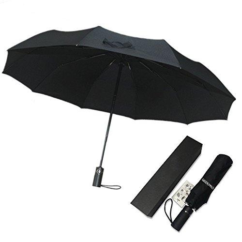 折り畳み傘 自動開閉 ワンタッチ 耐久性 晴雨兼用 耐風撥水 10本骨 210T高密度 梅雨対策 116cm 男女兼用 紳士傘 ビジネス傘 ジャンプ傘 収納ケース付き ブラック