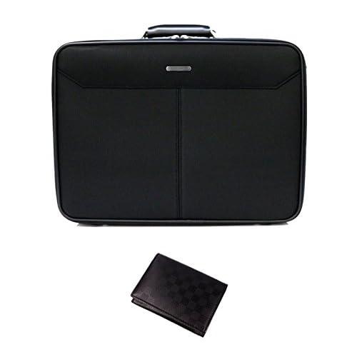 (フィリップラングレー)PHILIPE LANGLET ソフトアタッシュケース ビジネスバッグ フライトケース 2WAY ショルダーバッグ 斜めがけバッグ 軽量 日本製 (かばん職人の太鼓判オリジナル 格子柄名刺入れ付き) (ブラック・A4ファイル(39×28×10))