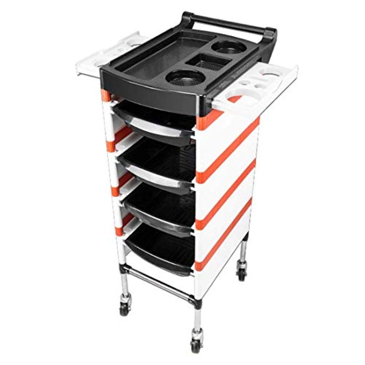 バッジガウン未満HIZLJJ 4つの引出しのヘアードライヤーサービス皿用具の貯蔵のカートが付いている大広間の鉱泉の美の理髪の圧延のトロリーカート (Color : Orange)