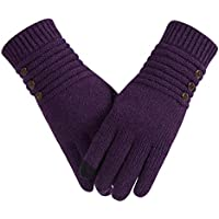 Winter Wool Warm Gloves For Women, Anti-Slip Knit Touchscreen Thermal Cuff Snow Driving Gloves With Thick Thinsulate Lining