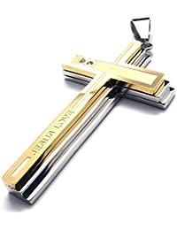 [テメゴ ジュエリー]TEMEGO Jewelry メンズクリスタルステンレススチールヴィンテージペンダントゴシッククロス「イエスの愛」のネックレス、ゴールデン[インポート]