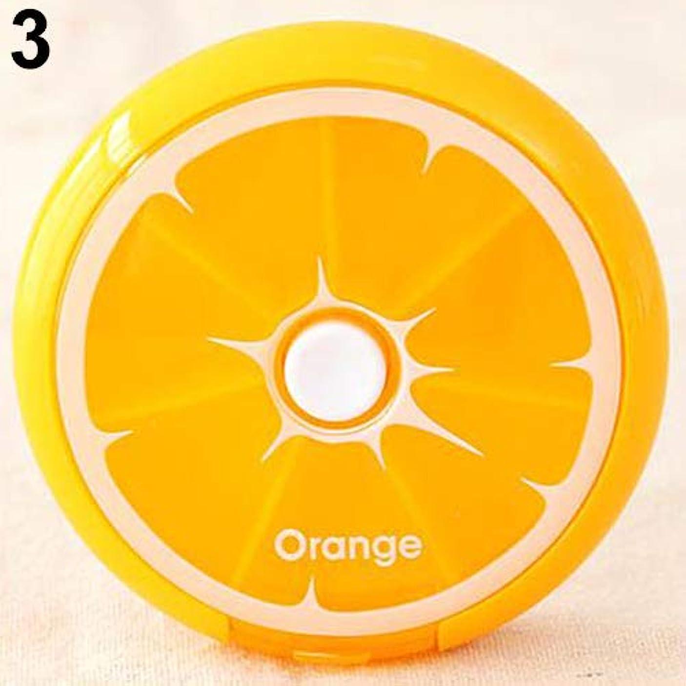 メッセンジャーヘッジアセhamulekfae-化粧品綺麗7日間ピル収納ウィークリーフルーツラウンドボックス医学オーガナイザーコンテナケース - オレンジ