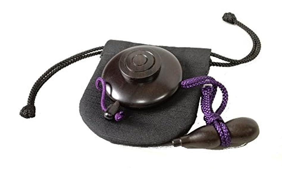 深く滑りやすいスコットランド人塗香入れ 黒檀 大(直径約 5cm) 塗香入れ袋(巾7cm×高さ8cm紬)携帯用