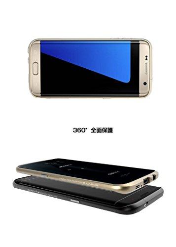 【M&Y】Galaxy S7 edge バンパー ギャラクシーS7 エッジ カバー クリアバックパネル 付きアルミバンパー Galaxy S7 edge アルミバンパー ケース クリア 背面パネル付き バックパネル付き かっこいい ギャラクシーS7 エッジ バンパーカバー 「全6色」MY-S7EG-BB-60519 (ローズゴールド)