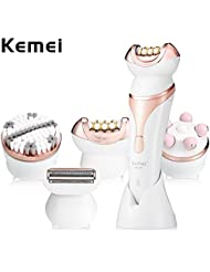 Kemei-296 4 in 1多機能プロフェッショナルビューティーキット顔の毛の除去脱毛器マッサージレディカミソリフェイスクリーニングブラシ