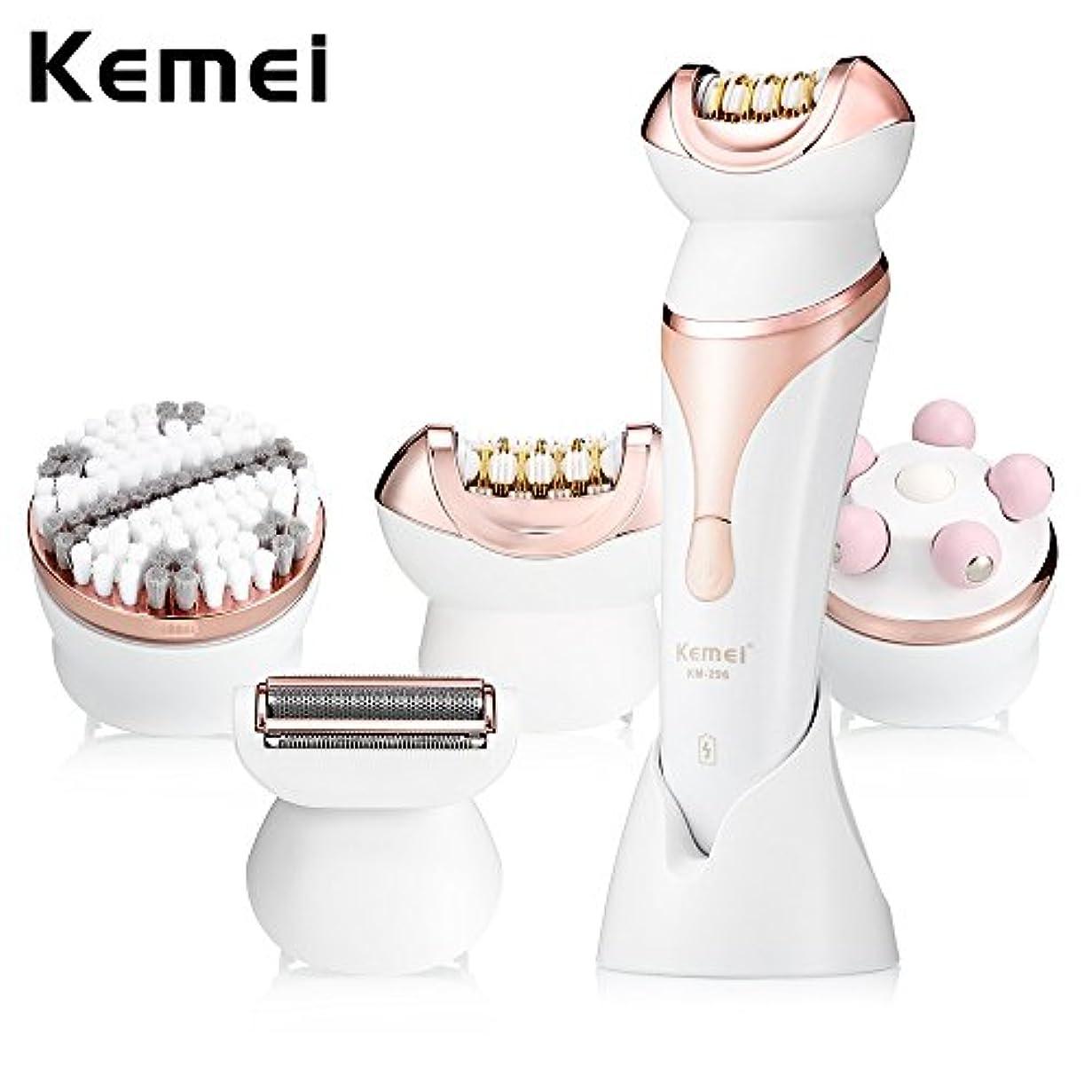 確認する然とした持参Kemei-296 4 in 1多機能プロフェッショナルビューティーキット顔の毛の除去脱毛器マッサージレディカミソリフェイスクリーニングブラシ