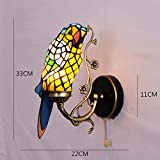 Tiffany Style Parrot Wall Sconces Light, Stained Glass Wall Lamp for Bedside Living Room Hotel Bar Corridor, LED Bathroom Mirror Headlight, Max 40W, E27,I