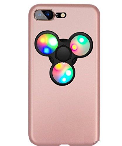 日本未発売 SPRING COME® [LEDハンドスピナー付きMATPCスマホンケース」LED 光る ピカピカ フォーカス玩具 iphone 5/SE /IPhone6s iPhone6 PLUS/ iphone7 7s 8 軽量 ウルトラ スリム 超薄型 プラスチック メッキ 360度保護 全面的保護機能  Hand Spinner Fidget Spinner ハード バック ケース アイホン5 アイホンSE / アイフォン6s / 6アイフォン6 / 6s / 7 8 プラス カバー スマホケース スマホカバー (アイホン7/8, ローズx黒) [並行輸入品]