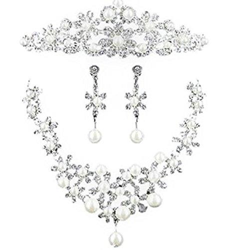 [해외]머리띠 티아라 웨딩 목걸이 귀걸이 3 종 세트 헤어 액세서리 머리 장식 결혼식 신부 여성/Headband Wedding Necklace Earrings 3 Pieces Hair Accessory Hair Ornament Wedding Bride Women`s