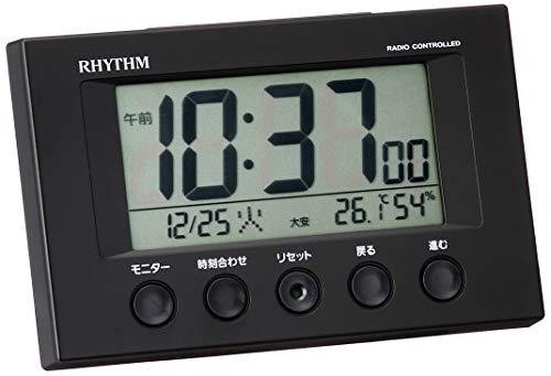 目覚まし時計 電波時計 温度計・湿度計付き フィットウェーブスマート 黒 リズム時計 8RZ166SR02