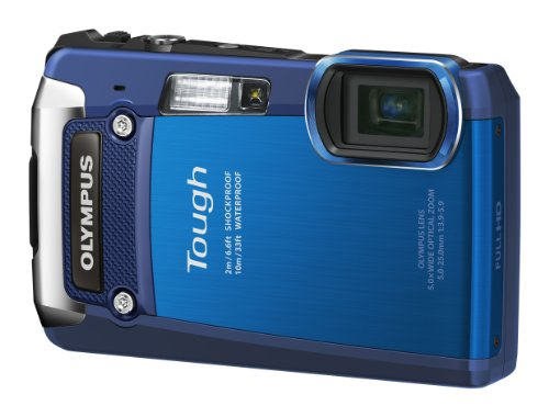 OLYMPUS デジタルカメラ TG-820 ブルー 10m防水 2m耐落下衝撃 -10℃耐低温 耐荷重100kg 1200万画素 裏面照射型CMOS 光学5倍ズーム DUAL IS ハイビジョンムービー 3.0型LCD 広角28mm 3Dフォト機能 TG-820 BLU