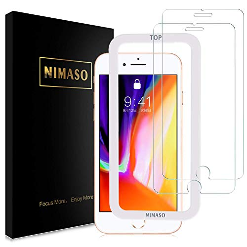 Nimaso iPhone8 / iPhone7 用 強化ガラス液晶保護フィルム【ガイド枠付き】【2枚セット】