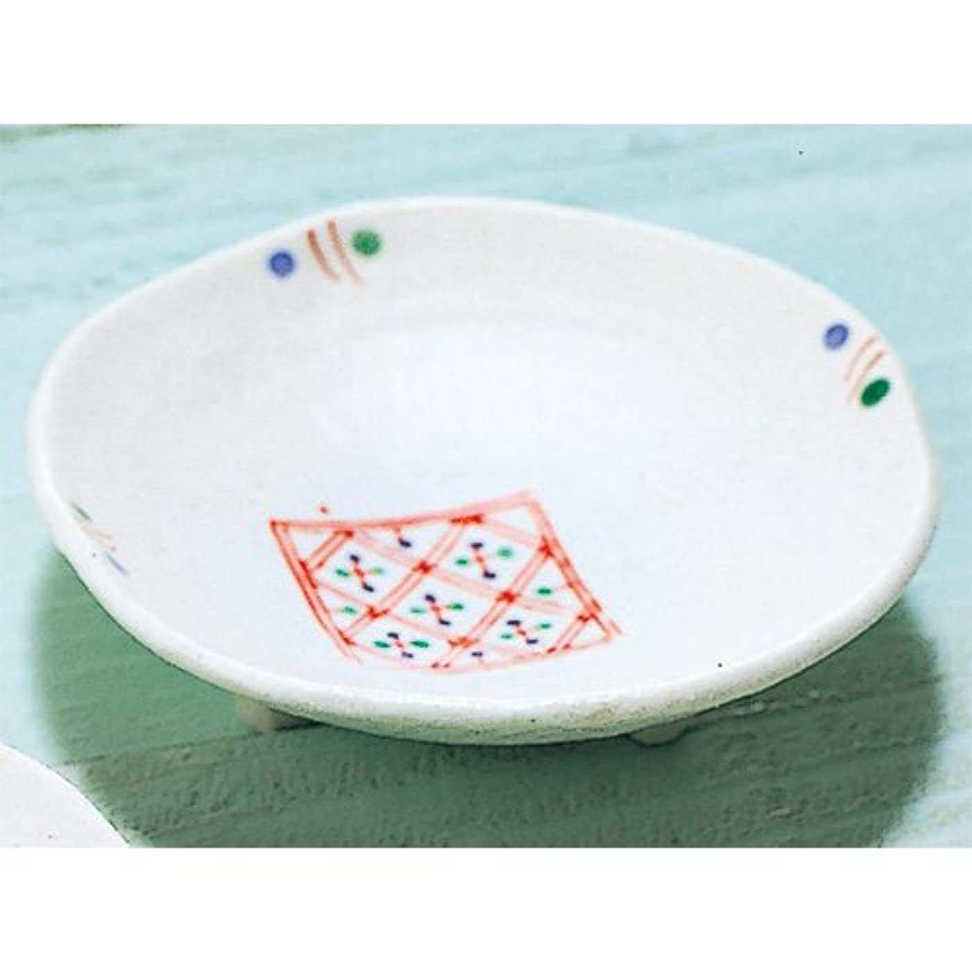 理想的には鋸歯状アコー香皿 赤絵 三ツ足香皿 地紋 [R9.2xH2.7cm] プレゼント ギフト 和食器 かわいい インテリア