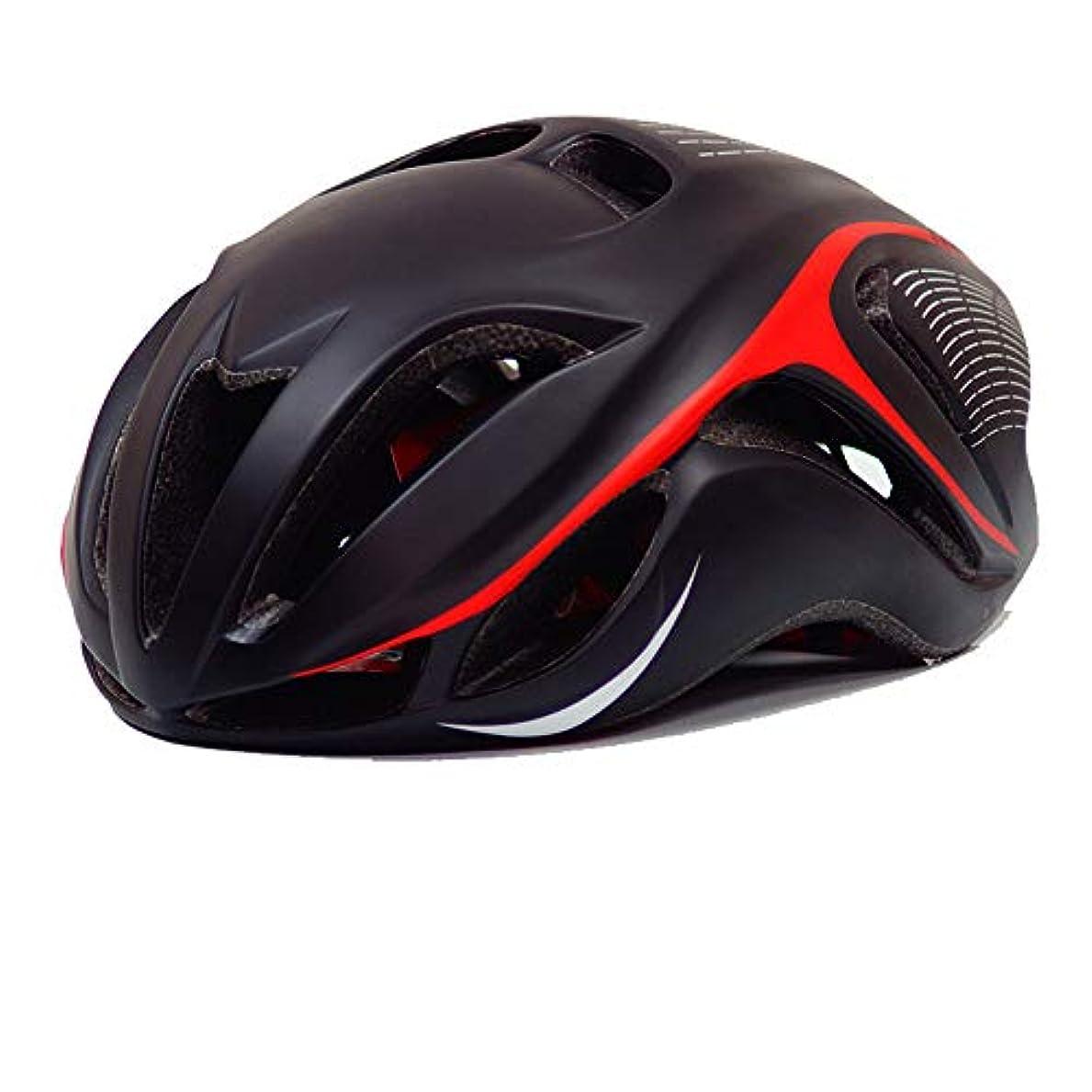 疾患勇気のある委任する大人の安全ヘルメット調節可能なロードサイクリングマウンテンバイクヘルメット 自転車アクセサリ (色 : ブラック+レッド)
