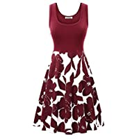 VETIOR Women's Vintage Scoop Neck Midi Dress Sleeveless A-line Cocktail Party Tank Dress